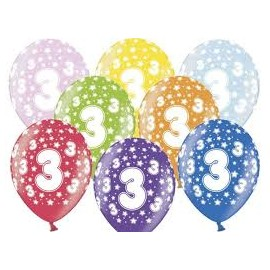 Silné Balónky 30cm metalické mix - Birthday No.3