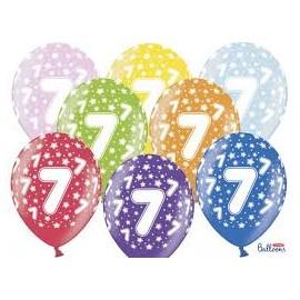 Silné Balónky 30cm metalické mix - Birthday No.7