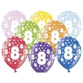 Silné Balónky 30cm metalické mix - Birthday No.8
