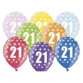 Silné Balónky 30cm metalické mix - Birthday No.21