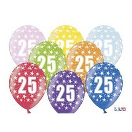 Silné Balónky 30cm metalické mix - Birthday No.25