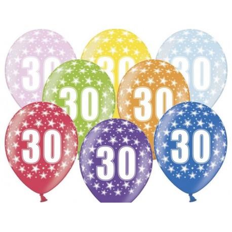 Silné Balónky 30cm metalické mix - Birthday No.30