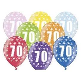 Silné Balónky 30cm metalické mix - Birthday No.70
