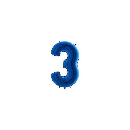 Balón foliový číslice MODRÁ - BLUE 115 cm - 3