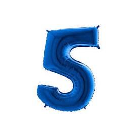 Balón foliový číslice MODRÁ - BLUE 115 cm - 5
