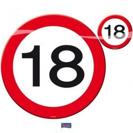 Prostírání dopravní značka 18, 4x talíř, 4x sklenička