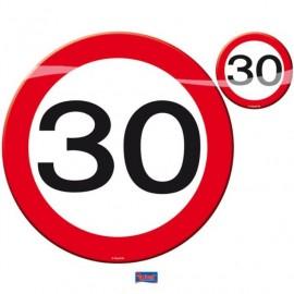 Prostírání dopravní značka 30, 4x talíř, 4x sklenička