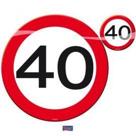 Prostírání dopravní značka 40, 4x talíř, 4x sklenička