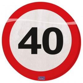 Ubrousky dopravní značka 40, 33x33cm 20ks/bal.