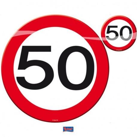 Prostírání dopravní značka 50, 4x talíř, 4x sklenička