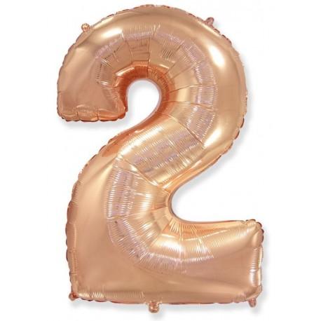 Balón foliový číslice RŮŽOVO ZLATÁ - ROSE GOLD 115 cm - 2