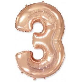 Balón foliový číslice RŮŽOVO ZLATÁ - ROSE GOLD 115 cm - 3