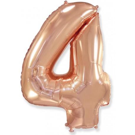 Balón foliový číslice RŮŽOVO ZLATÁ - ROSE GOLD 115 cm - 4