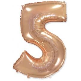 Balón foliový číslice RŮŽOVO ZLATÁ - ROSE GOLD 115 cm - 5