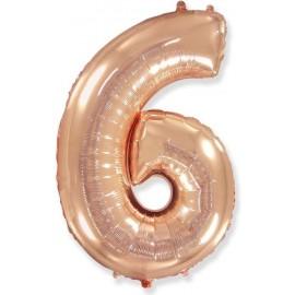 Balón foliový číslice RŮŽOVO ZLATÁ - ROSE GOLD 115 cm - 6