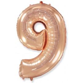 Balón foliový číslice RŮŽOVO ZLATÁ - ROSE GOLD 115 cm - 9